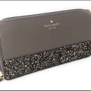 NWT Kate Spade Wallet Greta Court Glitter Grey